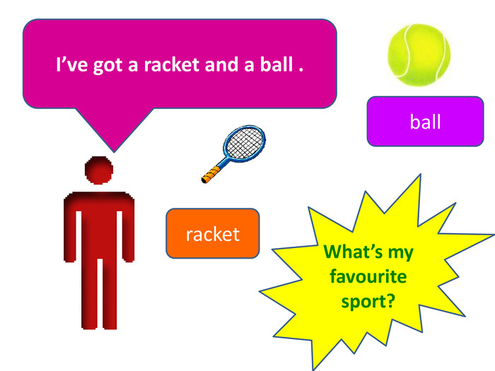 I've got a racket and a ball .ballracket. What's my favourite sport?