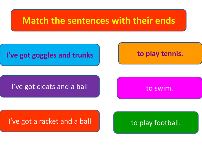 Match the sentences with their ends. I've got goggles and trunks. I've got cleats and a ball. I've got a racket and a ballto play tennis.to play football.to swim.
