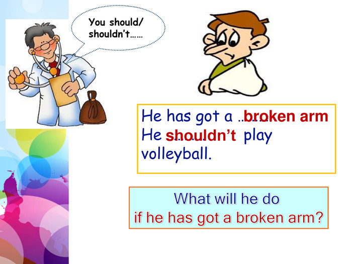 You should/ shouldn't……He has got a ………. He ……….. play volleyball.broken armshouldn't. What will he do if he has got a broken arm?