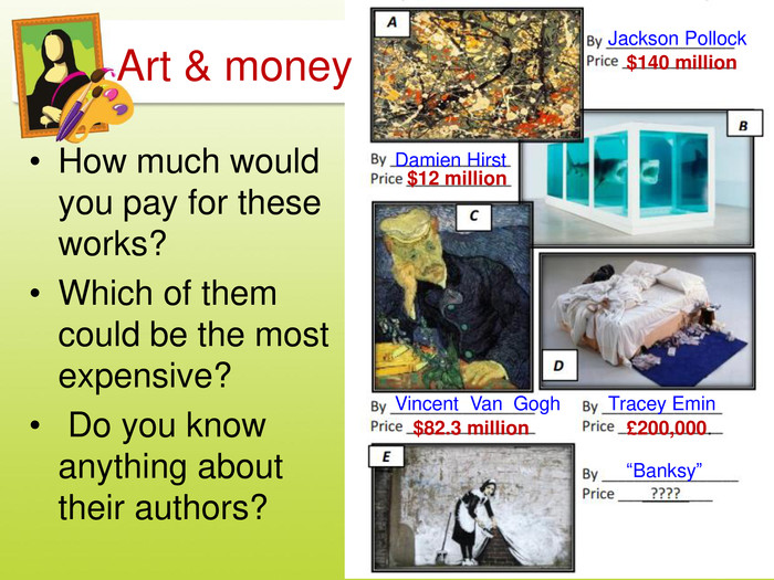 "How much would you pay for these works?Which of them could be the most expensive? Do you know anything about their authors?Art & money. Jackson Pollock$140 million Damien Hirst$12 million. Vincent Van Gogh$82.3 million. Tracey Emin£200,000.""Banksy""style.colorfillcolorfill.typestyle.colorfillcolorfill.typestyle.colorfillcolorfill.typestyle.colorfillcolorfill.typestyle.colorfillcolorfill.type"
