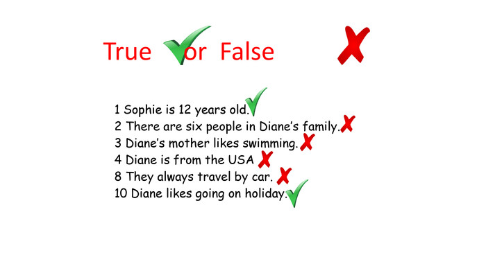 1 Sophie is 12 years old.2 There are six people in Diane's family.3 Diane's mother likes swimming.4 Diane is from the USA8 They always travel by car.10 Diane likes going on holiday. True or False