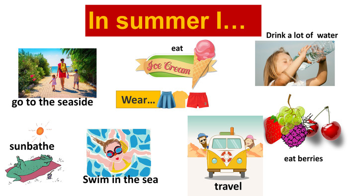 In summer I…Wear…Drink a lot of water eat berriessunbathetravel. Swim in the seago to the seaside eat