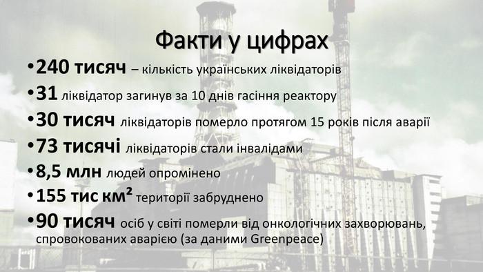 Презентація День вшанування ліквідаторів аварії на Чорнобильській АЕС