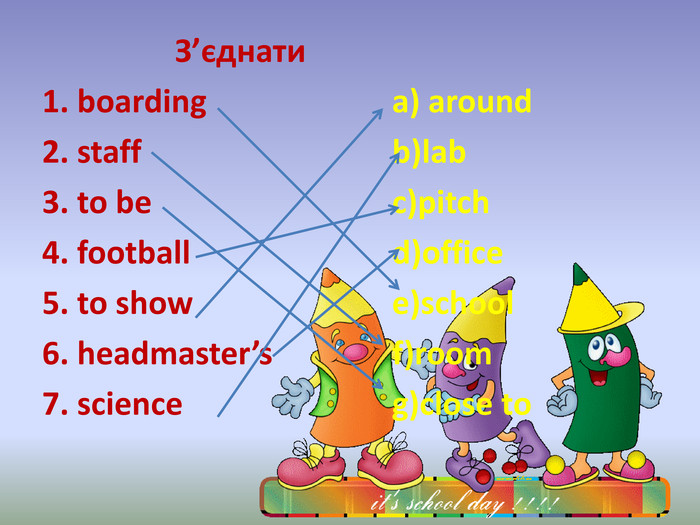 З'єднати 1. boarding a) around 2. staff b)lab 3. to be c)pitch 4. football d)office 5. to show e)school 6. headmaster's f)room7. science g)close to