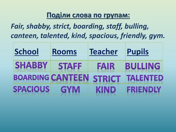 Поділи слова по групам: Fair, shabby, strict, boarding, staff, bulling, canteen, talented, kind, spacious, friendly, gym.{8799 B23 B-EC83-4686-B30 A-512413 B5 E67 A}School. Rooms. Teacher. Pupils            fairstaffboardingstrictshabbybullingcanteentalentedkindspaciousfriendlygym