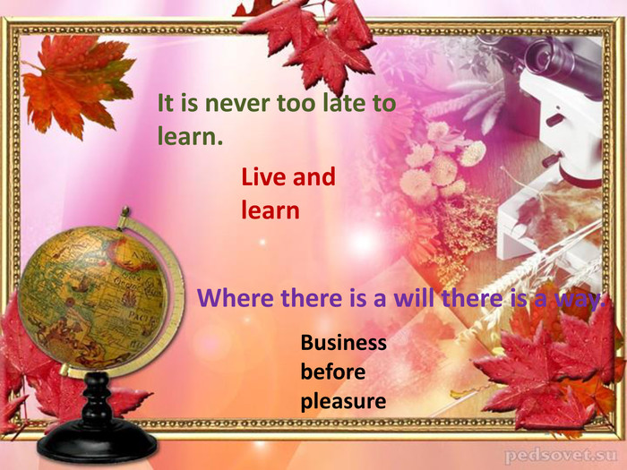 The 27th of February. Theme of the lesson: My school day Live and learn. It is never too late to learn. Business before pleasure. Where there is a will there is a way.