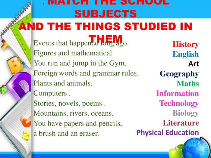 . MATCH THE SCHOOL SUBJECTS AND THE THINGS STUDIED IN THEM Events that happened long ago. Figures and mathematical. You run and jump in the Gym. Foreign words and grammar rules. Plants and animals. Computers . Stories, novels, poems . Mountains, rivers, oceans. You have papers and pencils, a brush and an eraser. History. English. Art. Geography. Maths. Information Technology. Biology. Literature. Physical Education