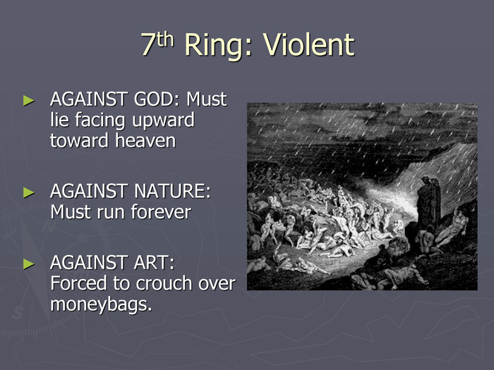 7th Ring: Violent AGAINST GOD: Must lie facing upward toward heaven