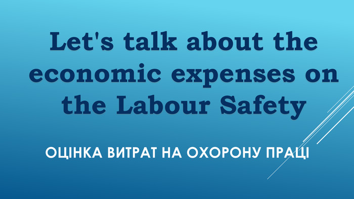 Оцінка ВИтрат на охорону праці Let's talk about the economic expenses on the Labour Safety