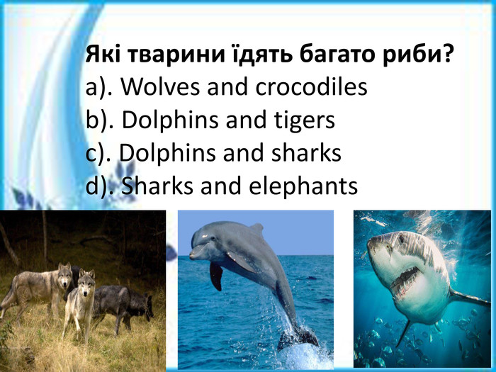Які тварини їдять багато риби?a). Wolves and crocodilesb). Dolphins and tigersc). Dolphins and sharksd). Sharks and elephants