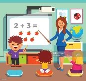 Children studying in classroom : Vector Art