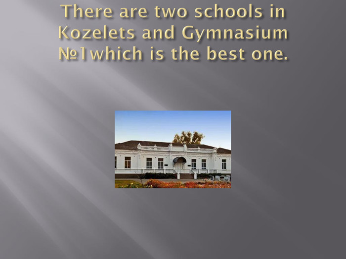 There are two schools in Kozelets and Gymnasium №1which is the best one.