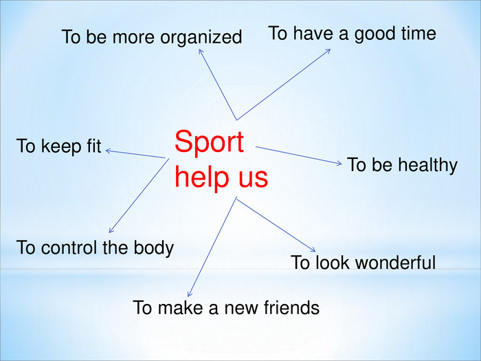 Sport help us  To keep fit To have a good time  To be healthy To make a new friends