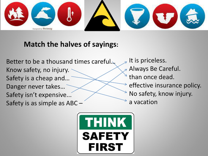 20 Match the halves of sayings: Better to be a thousand times careful…Know safety, no injury. Safety is a cheap and…Danger never takes…Safety isn't expensive... Safety is as simple as ABC – It is priceless. Always Be Careful.than once dead.effective insurance policy. No safety, know injury.a vacation