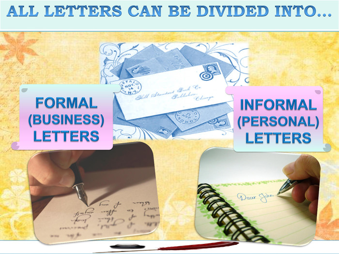 FORMAL (BUSINESS)LETTERSALL LETTERS CAN BE DIVIDED INTO…INFORMAL (PERSONAL)LETTERS
