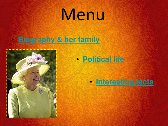 Menu Biography & her family