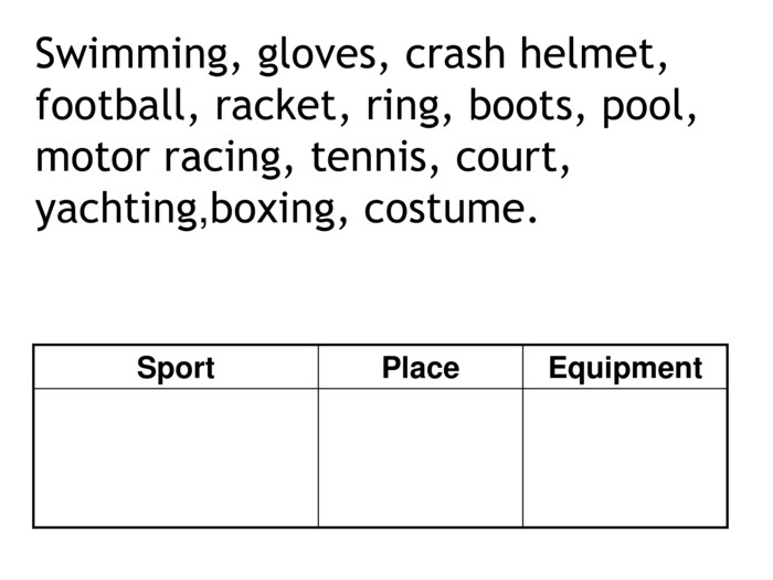 Swimming, gloves, crash helmet, football, racket, ring, boots, pool, motor racing, tennis, court, yachting,boxing, costume. Sport  Place  Equipment
