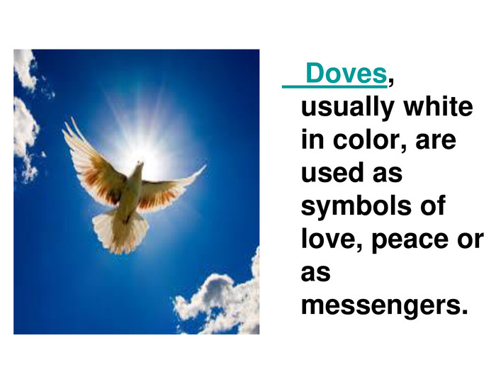 Doves, usually white in color, are used as symbols of love, peace or as messengers.