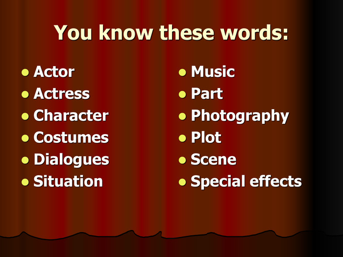 You know these words: Actor