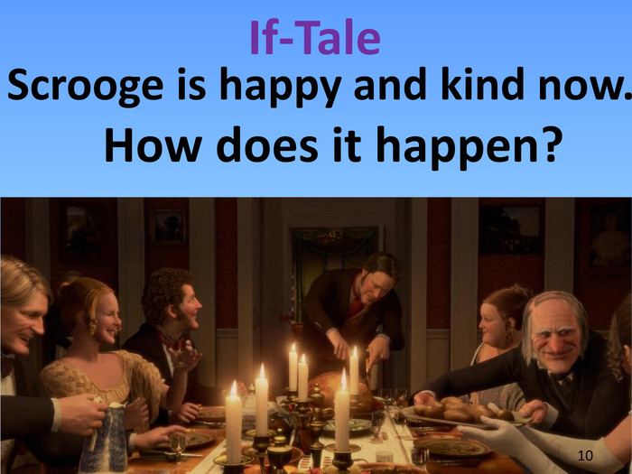 If-Tale. Scrooge is happy and kind now. How does it happen?10