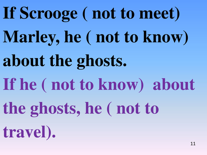 If Scrooge ( not to meet) Marley, he ( not to know) about the ghosts. If he ( not to know) about the ghosts, he ( not to travel).11