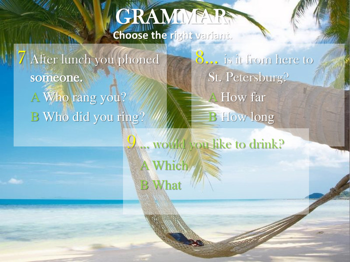 GRAMMAR Choose the right variant. 7 After lunch you phoned someone.