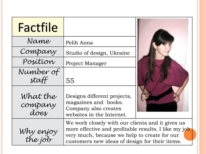 Factfile   Name Pelih Anna Company Studio of design, Ukraine Position Project Manager Number of staff 55 What the company does Designs different projects, magazines and  books. Company also creates websites in the Internet. Why enjoy the job We work closely with our clients and it gives us more effective and profitable results. I like my job very much, because we help to create for our customers new ideas of design for their items.