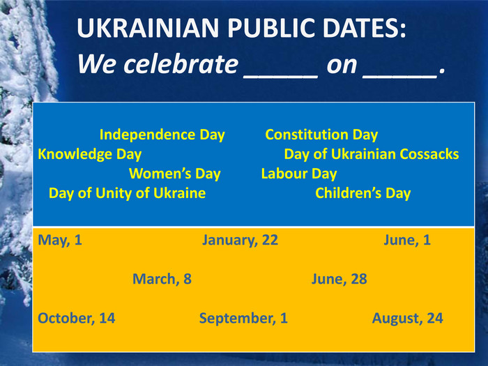 UKRAINIAN PUBLIC DATES: We celebrate _____ on _____. {5 C22544 A-7 EE6-4342-B048-85 BDC9 FD1 C3 A} Independence Day Constitution Day Knowledge Day Day of Ukrainian Cossacks Women's Day Labour Day Day of Unity of Ukraine Children's Day May, 1 January, 22 June, 1 March, 8 June, 28 October, 14 September, 1 August, 24