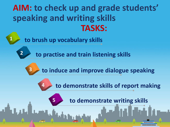 AIM: to check up and grade students' speaking and writing skills TASKS: to demonstrate skills of report making4to brush up vocabulary skills 1to practise and train listening skills 2to induce and improve dialogue speaking3to demonstrate writing skills 5