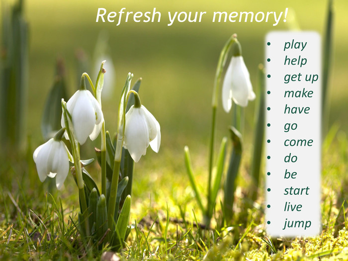 Refresh your memory!playhelp get up make have go come do be start live jump