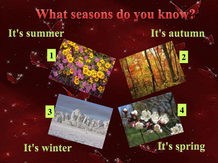 It's summer. It's autumn. It's winter. It's spring. What seasons do you know?1234