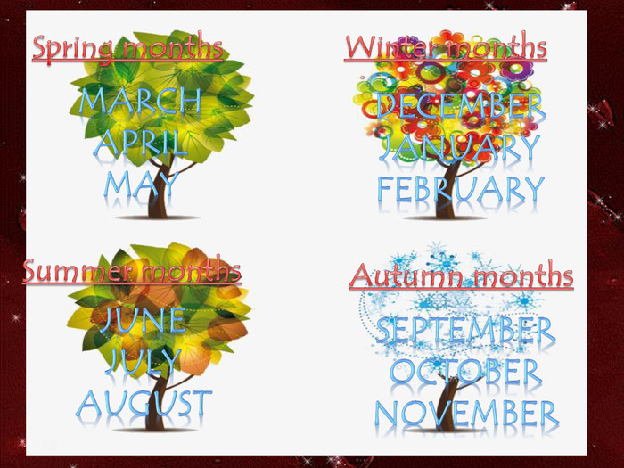 Spring months. March. April. May. Summer months. June. July. August. Autumn months. September. October. November. Winter months. December. January. February