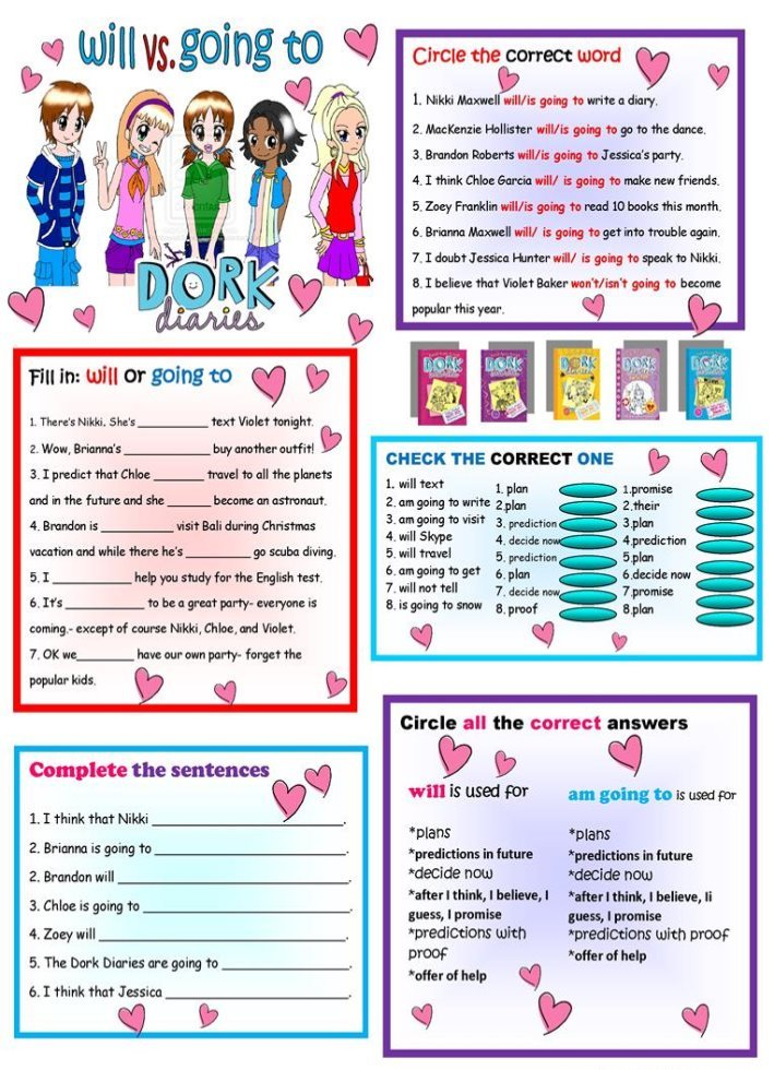Описание: Will & Be Going to Review + KEY + B&W (Dork Diaries Theme ...