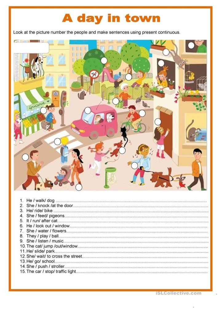 Описание: A day in town - Present continuous - English ESL Worksheets for ...