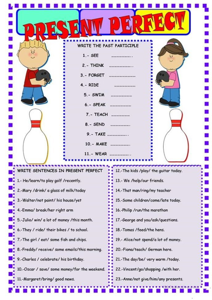 PRESENT PERFECT TENSE - English ESL Worksheets for distance ...