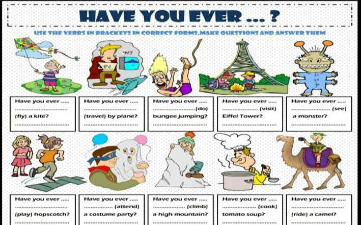 Present Perfect Tense - Have You Ever ...? Esl Printable Grammar ...