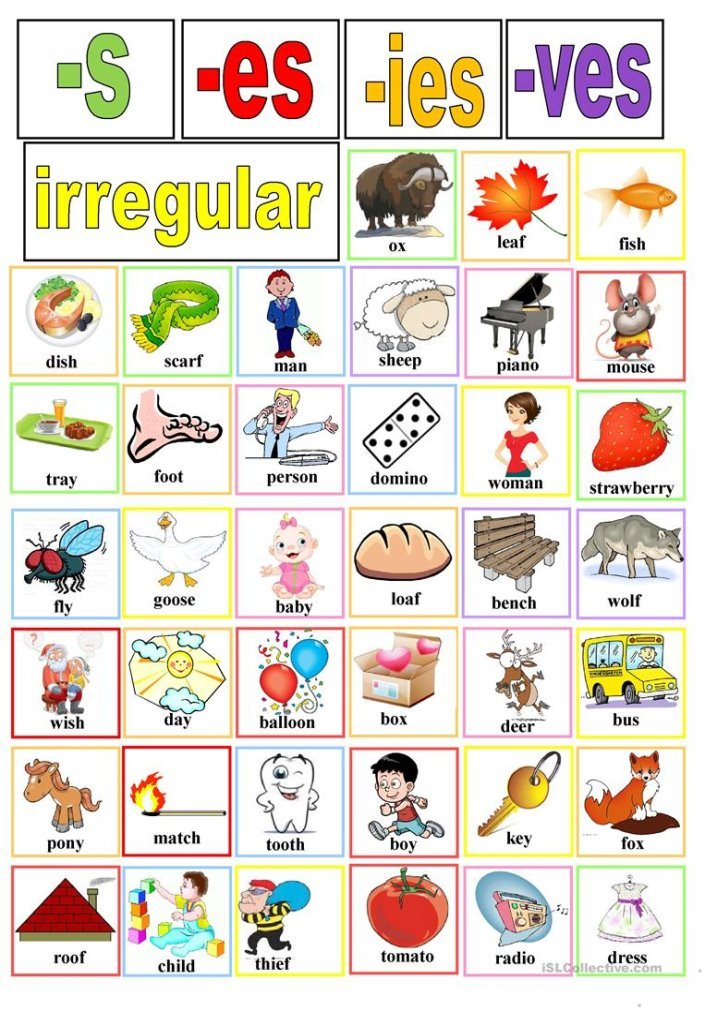 Plural nouns cards - English ESL Worksheets for distance learning ...