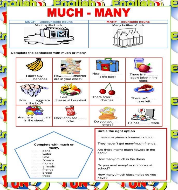 Welcome to English - much and many -quantifiers | Apprendimento ...